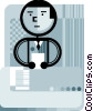 Vector Clipart graphic  of a Doing Paperwork