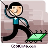 Man spearing computer chip Vector Clip Art picture
