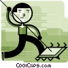 Man spearing computer chip Vector Clipart illustration
