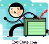 Businessman running late with suitcase Vector Clipart image