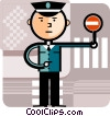 Crossing Guard with stop sign Vector Clipart illustration