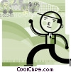 man with net capturing technology Vector Clip Art picture