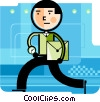 Vector Clip Art picture  of a Running and Walking