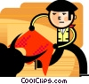 Matador fighting a bull Vector Clipart illustration