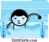 Boy swimming in a pool Vector Clip Art image