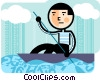 Man kayaking Vector Clipart illustration