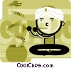 Snake charmer with snake made of digital code Vector Clipart picture