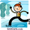 Boy skating on frozen pond Vector Clip Art picture