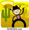 Cowboy with lasso and cactus Vector Clip Art graphic