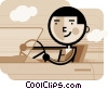 Man driving in convertible car Vector Clip Art picture