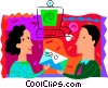 Woman sending e-mail to man Vector Clipart illustration