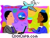 Flight attendant serving drinks Vector Clip Art picture
