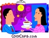 Vector Clip Art graphic  of a Woman giving coffee to her