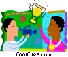 Man filming boy with trophy Vector Clip Art picture