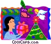 Woman placing a gift under a Christmas tree Vector Clipart illustration