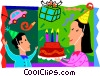 Mother bringing her son his birthday cake Vector Clip Art image