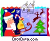 Vector Clipart graphic  of a Santa and his sleigh with