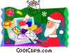 Santa opening his e-mail Vector Clipart illustration