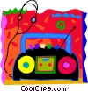 Portable stereo with headphones Vector Clip Art picture