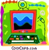Vector Clip Art image  of a Computer workstation with camera