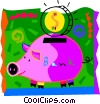 Vector Clipart picture  of a Piggy bank with change
