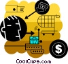 Man shopping for a mortgage Vector Clipart illustration