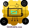 Drafting table with desk lamp Vector Clip Art image