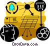Vector Clipart illustration  of a Man with solar panel