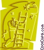 Businessman climbing ladder to success Vector Clip Art graphic