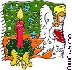 Vector Clip Art graphic  of a Christmas candle and an angel