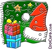Vector Clipart graphic  of a Christmas gifts and Santa's