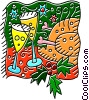 Vector Clipart illustration  of a Champagne glasses with turkey