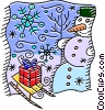 Sleigh with a gift beside a snowman Vector Clipart picture