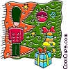 Toy soldier under the Christmas tree Vector Clip Art picture