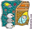 Baby Jesus sleeping with three sheep watching Vector Clip Art picture