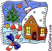 Country home at Christmas time Vector Clipart picture