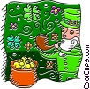 Vector Clipart graphic  of a Leprechaun smoking pipe and