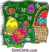 Vector Clip Art image  of a Basket of Easter eggs