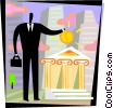 man borrowing money from the bank Vector Clipart illustration