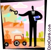 man with key to factory and tractor with money bag Vector Clipart illustration