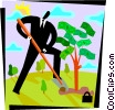 Businessman planting money tree Vector Clip Art picture