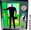 Businessman leaving work Vector Clipart image