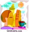 Man having coffee, apartments in the background Vector Clipart image
