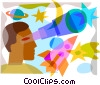 Man looking through a telescope Vector Clipart illustration