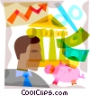 man with piggy bank, money and chart Vector Clipart graphic