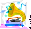 Vector Clip Art graphic  of a Gramophone playing a record