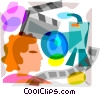 Vector Clip Art image  of a Movie making concept