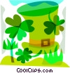 St.Patrick's day hat and four leaf clovers Vector Clipart image