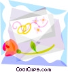 Vector Clipart picture  of a Wedding invitation with a rose