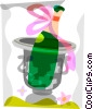 Vector Clip Art image  of a Champagne in a bucket of ice